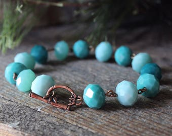 Bracelet / Glass Bracelet / Turquoise / blue Glass / Copper / Toggle / Chainlink / Rustic Mountain Jewelry / faceted glass Beads / Handcraft