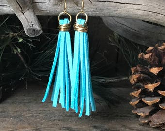 Earrings / Turquoise / Suede / Gold / Aqua / Teal / Rustic Mountain / Turquoise suede strips / wire / wrapped / Gold wire