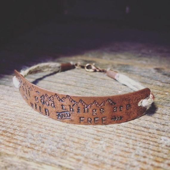 Bracelet/All Good Things are Wild and Free/stamped copper/hemp bracelet//Hemp and copper jewelry/made in Colorado/Free spirit/