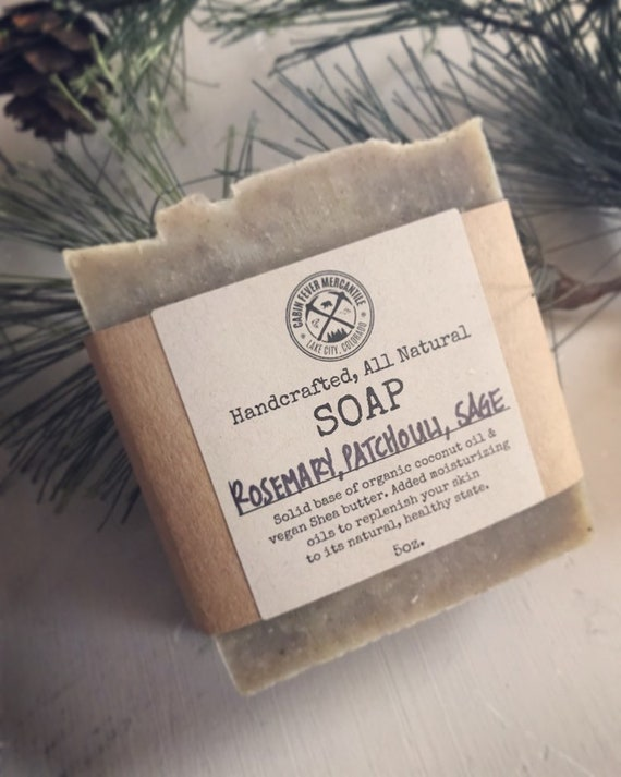 Soap/Rosemary Patchouli Sage/Organic Sage/began Shea Butter Soap/Essential Oil Soap/Made In Colorado/Homestead Soap/Real Soap/CP soap