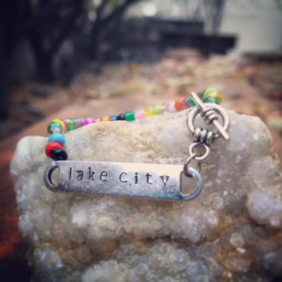 Lake City Colorado Bracelet/Beaded Lake City Bracelet/Toggle bracelet/Hand stamped/Antique Silver/Metal Stamping/Made In Colorado/Mountains
