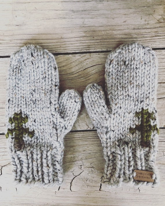 Mittens/Pine Trees/Hand Knitted Mittens/Bulky Mittens/Chunky Mittens/Oatmeal Yarn Mittens/Wool Ease Yarn/Woolen Mittens/Made In Colorado