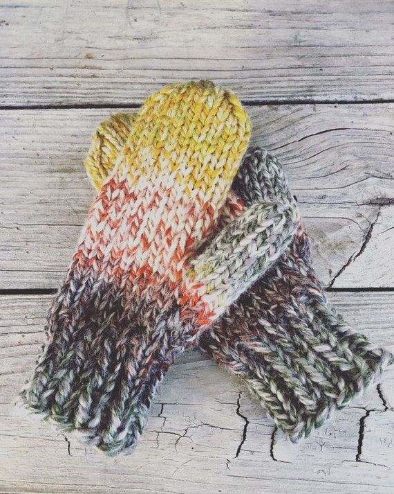 Mittens/Hand Knitted Mittens/Bulky Mittens/Chunky Mittens/Striped Mittens/Organic Colors/Wool Ease Yarn/Woolen Mittens/Made In Colorado