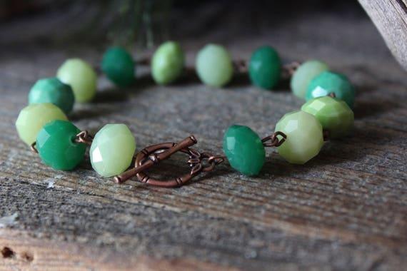 Bracelet / Glass Bracelet / Jade / Seafoam / Aqua / Copper / Toggle / Chainlink / Rustic Mountain Jewelry / faceted glass Beads