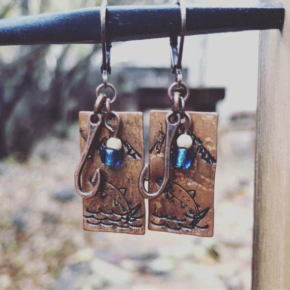 Earrings/Trout Earrings/Fly Fishing/Copper/Rustic/Mountain Living/Stamped/Copper Fish hook/Teal and Copper/Fish stamp/Cluster Earrings