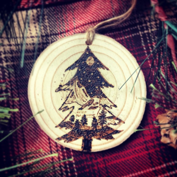 Christmas Ornament/Pine Tree/wood burned/Trees and Mountains/Ornament/Merry Christmas/Snowy Mountains/Rustic/Cabin/Winter Wonderland