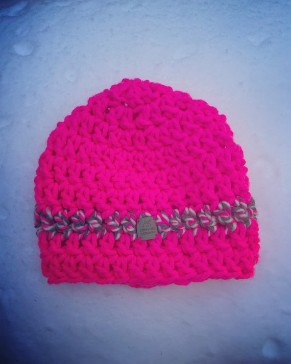Beanie/NEON/Hot pink/Ski Beanies/Snowboard/Sky High Collection/Neon Pink/Crocheted Hats/Stylish Beanies/Bright pink Hats/Slopes/Plush