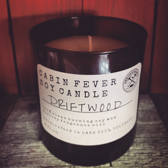 Soy Candle/Driftwood/Man Candles/Rustic Candle/Woodsy/Scented Candles/Amber Glass /Made In Colorado/Cabin Fever Candles