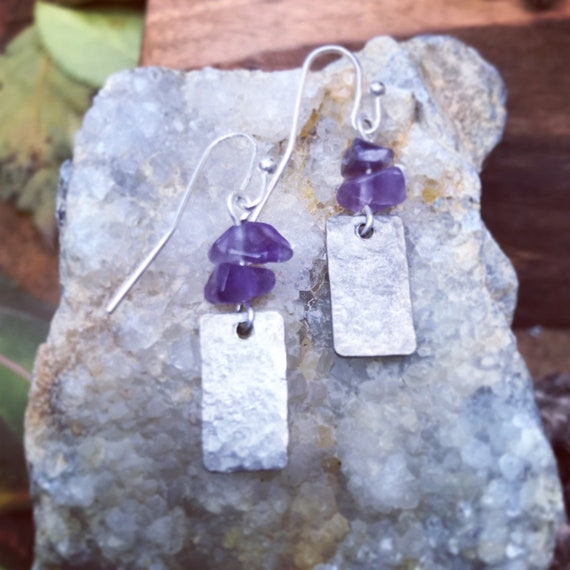 Amerhyst and Silver/Earrings/Made in Colorado/Hammered/Amerhyst Chips/Dainty/Silver Earrings/Purple