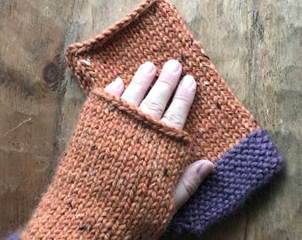 Fingerless Gloves / Arm Warmers / Pumpkin / Alpaca Mitts / Purple / Driving Mitts / Knitted Fingerless Gloves / Super Soft / Gifts for Her