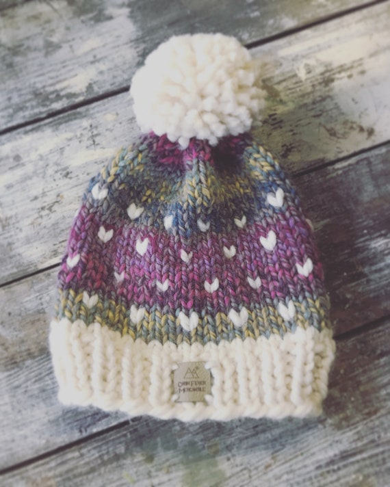 Beanie/womens/Girls/knitted Beanie/beanie with pom/purples and pinks/Versatile size/Bulky hat/tootie fruity/Ski/snowboard/Made in Colorado