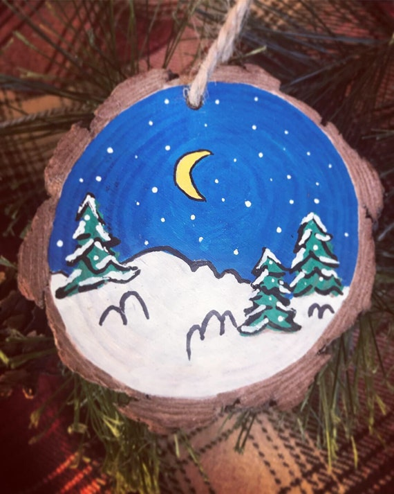 Ornament/Christmas Ornament/Wood Disc/Painted Wood/Handmade in Colorado/Snow/Slopes/Mountain Life/Colorado Ornament/Snowflake/Hand Painted