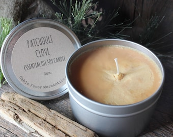 Candle / Patchouli Clove / Essential oil / Essential oil Candles / Soy candles / Rustic Candles / The Woodsman / Aromatherapy / Clarity