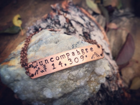 Uncompahgre Peak/Colorado/Colorado 14ers/stamped jewelry/Copper jewelry/Made in Colorado/Peak Bagger/Mountain Jewelry/Lake City