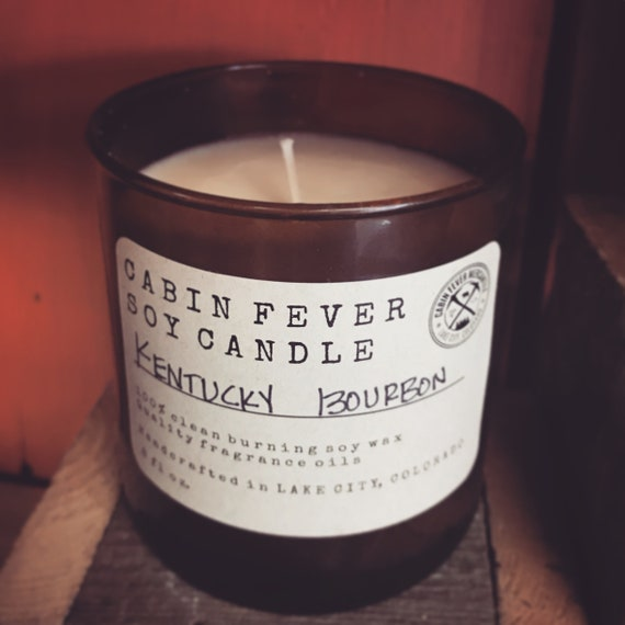 Soy Candle/Kentucky Bourbon/Cabin Fever Candles/Made in Colorado/Man Candles/Amber Glass/Sweet Stout/Scented Candles/Gifts for All