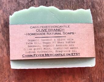 Soap / Olive Branch / Natural Soap / Cold Process Soap / Body Bar / Green / Avocado Soap / Shea butter Soap / Lye Soap / sweet green