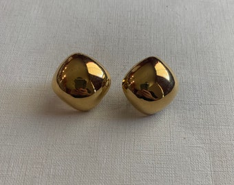 Vintage Napier gold tone squared dome clip on earrings