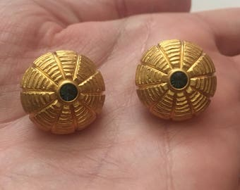 Vintage AJF gold tone textured round clip earrings with blue rhinestone