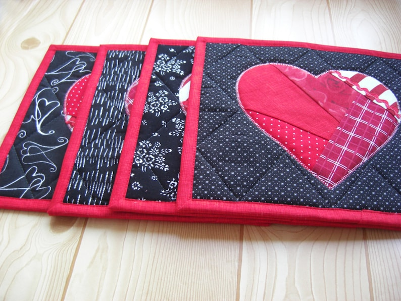 red white black-Home decor heart gift for her Heart Quilted placemats Set 4 Patchwork Handmade table mat