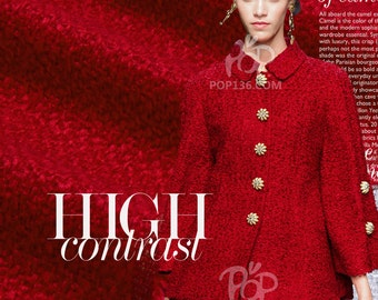 Autumn and Winter Red Wool Overcoat Dress Jacket Fabric E184
