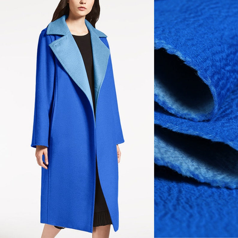 142CM Wide 820GM Weight Thick Double-faced Two-Colored Water Wave Blue Wool Cashmere Fabric for Autumn Winter Jacket Overcoat E900