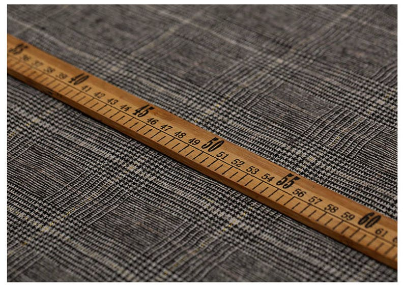 150CM Wide 320GM Check Print Thin Wool Golden Thread Fabric for Spring and Autumn Suit Dress Outwear Overcoat Jacket E625