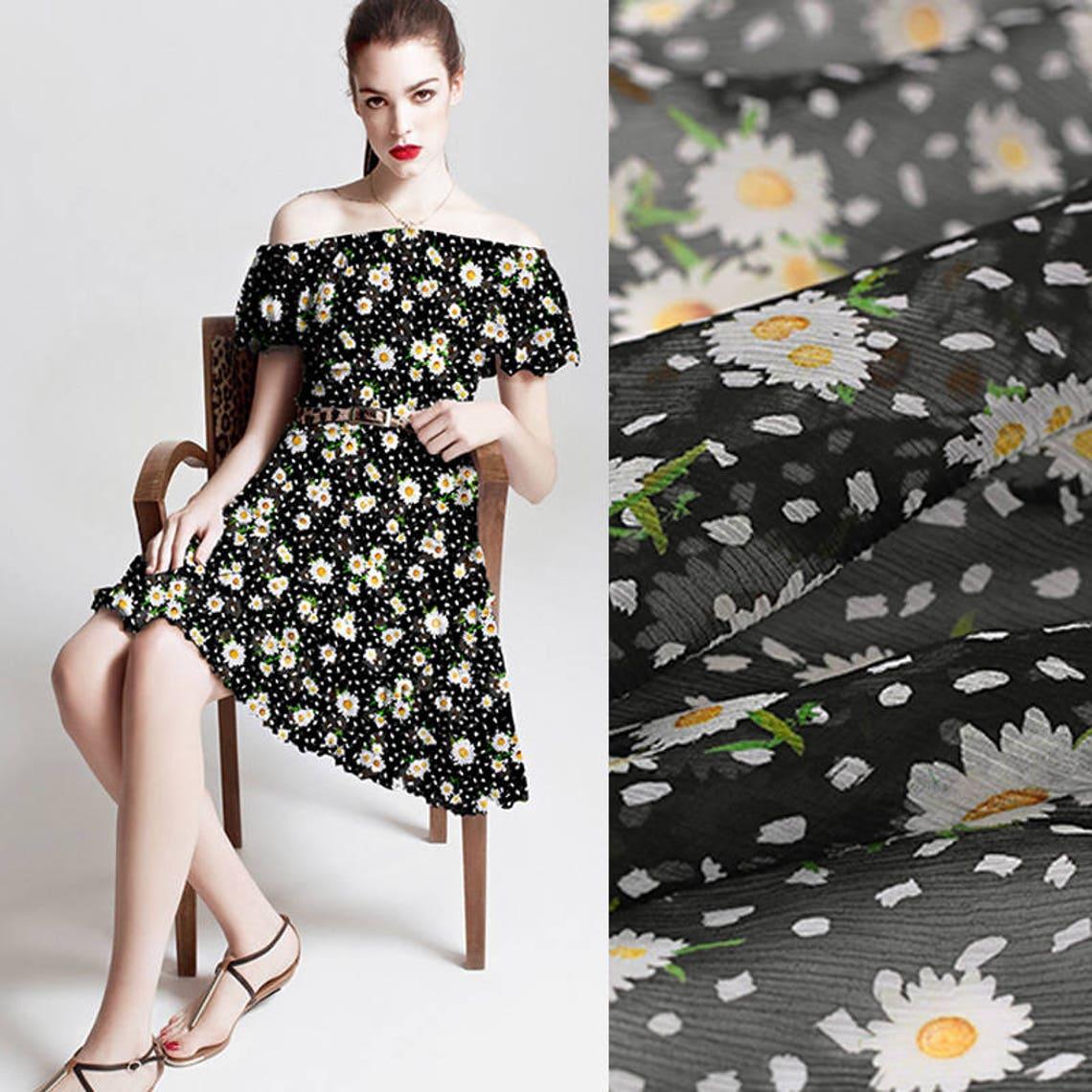 135cm Wide 9mm Daisy Print Black Thin Silk Chiffon Fabric For Etsy