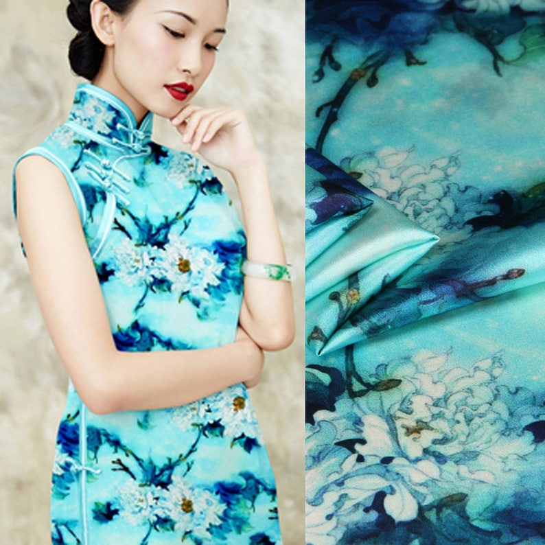 f232bd9f51c3b 118CM Wide 19MM Silk Spandex Floral Water Blue Stretch Silk Satin Fabric  for Summer Dress Shirt Clothes Cheongsam D846