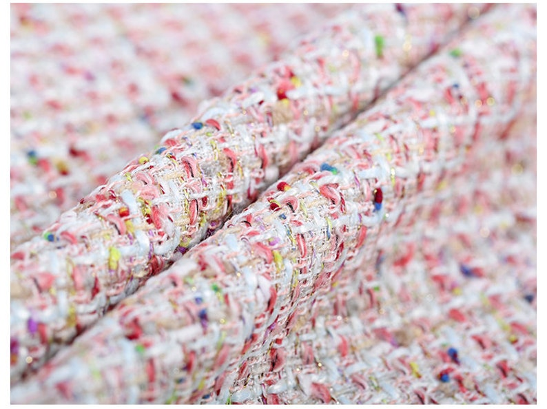 145CM Wide 400GM Weight Knitted Tweed Colorful Acrylic Wool Polyester Fabric for Autumn and Spring Dress Coat Jacket E651