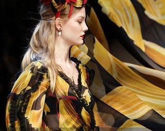 Golden Print Black Silk Crepe De Chine & Silk Chiffon Fabric for Summer Dress Shirt E312
