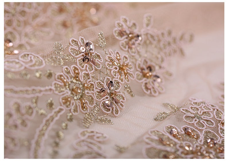 125CM Wide 300GM Weight Paillette Beading Acrylic Polyester Lace Fabric for Spring Summer Autumn Dress E634