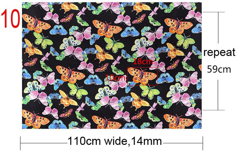 110-140CM Wide Print Silk Habotai Fabric 10 Patterns Available Number 5-10 E083