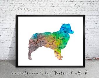 Australien Shepherd 2 Hund alle Größen Druck poster kunstdruck aquarell
