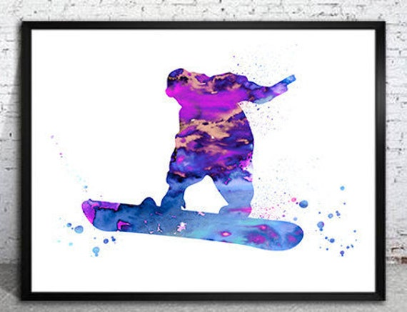 snow boarding print watercolour a4 wall art picture gift 16 unframed