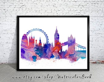 London Print, Skyline, Cityscape, Watercolor print, Art Print, Illustration, Art gifts, Wall decor, City silhouette