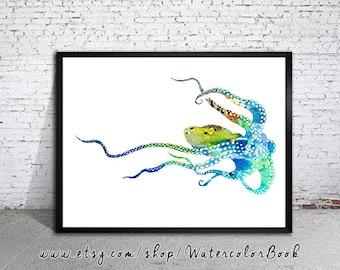 Blue Octopus print, Nautical prints, Ocean art, Sea print, Watercolor print, Art Print, Illustration, Art gifts, Wall decor
