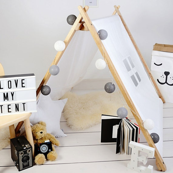 White A-Frame Playhouse Tent