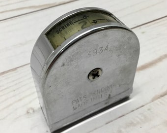 1930s Craftman Silver Pocket Measuring Tape with Upside Down Window 3934