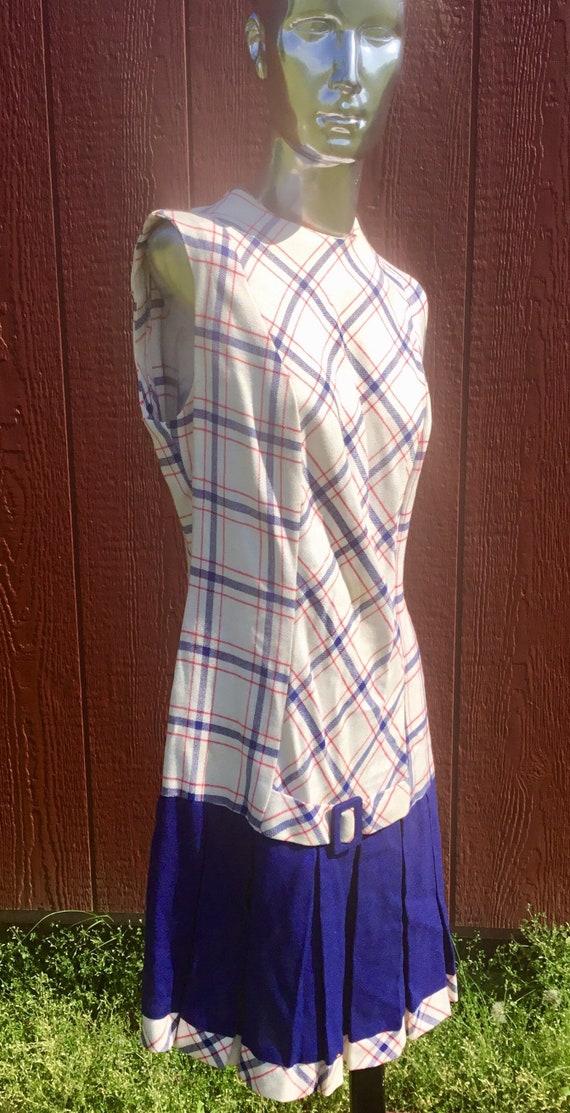 1940s ILGWU Red/White/Blue & Navy Plaid Sleeveless