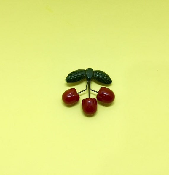 1930s Triple Cherries Rare Bakelite Brooch Pin