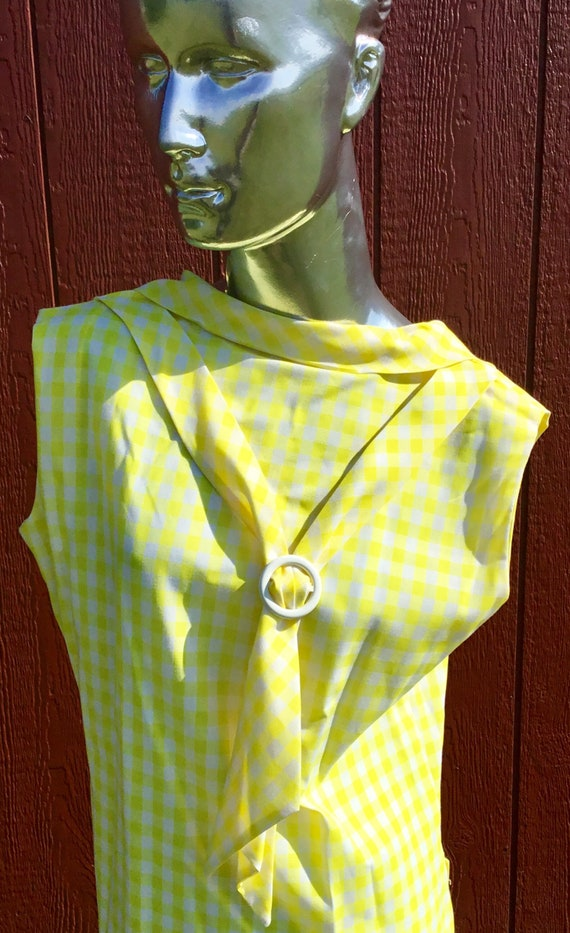 1950s Yellow & White plaid dress