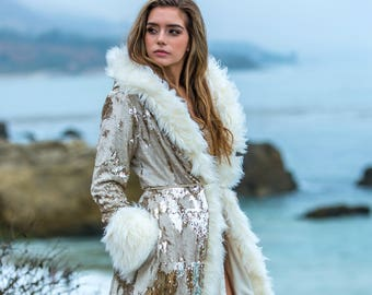Burning Man Sequin Sparkle Temptress Faux Fur Coat in Ivory Gold
