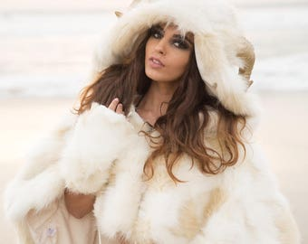 """Burning Man Faux Fur Horned Hooded Cape-let in """"Himalayan Snow Goddess,"""" """"Faun,"""" """"Chimera"""".  Horns Optional."""