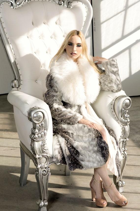 Women S Faux Fur Winter Ivory Shawl, Snow Leopard Fake Fur Coat