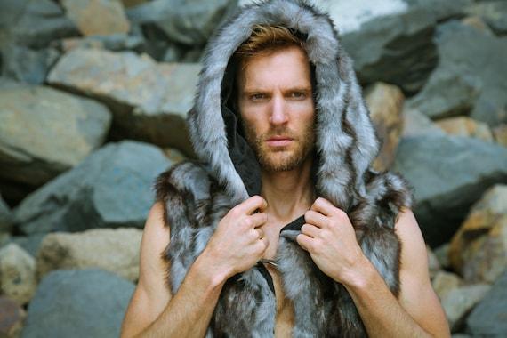 """Men's 3 Hook Vest in """"Gray Wolf"""" for Burning Man"""