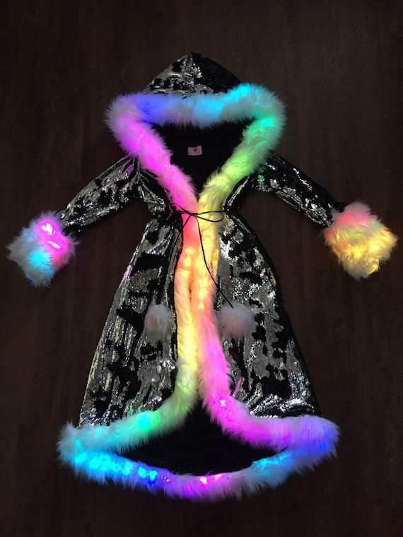 Led Fur Coat for Women Rainbow Sparkly Light Up Jacket White Furry Rave Costume