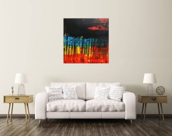 Original abstract artwork on canvas ready to hang 100x100cm #793