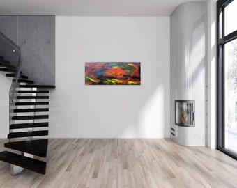 Original abstract artwork on canvas ready to hang 49x120cm #118
