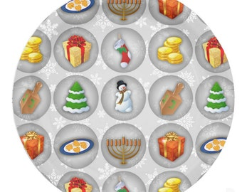 Chrismukkah Paper Plates, Holiday Party