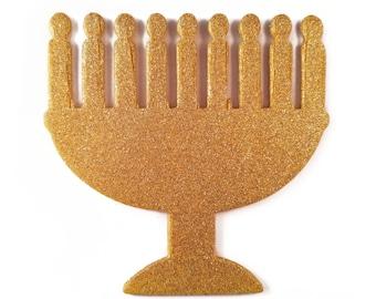 Chrismukkah Ornament, Menorah, Gold, Ready to Ship, Hanukkah/Christmas